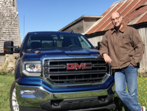 "@dudedrivescars and his GMC truck named ""Blue"""